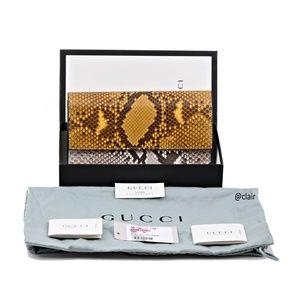 Gucci Bags - New Gucci Yellow/Grey Python Continental Wallet